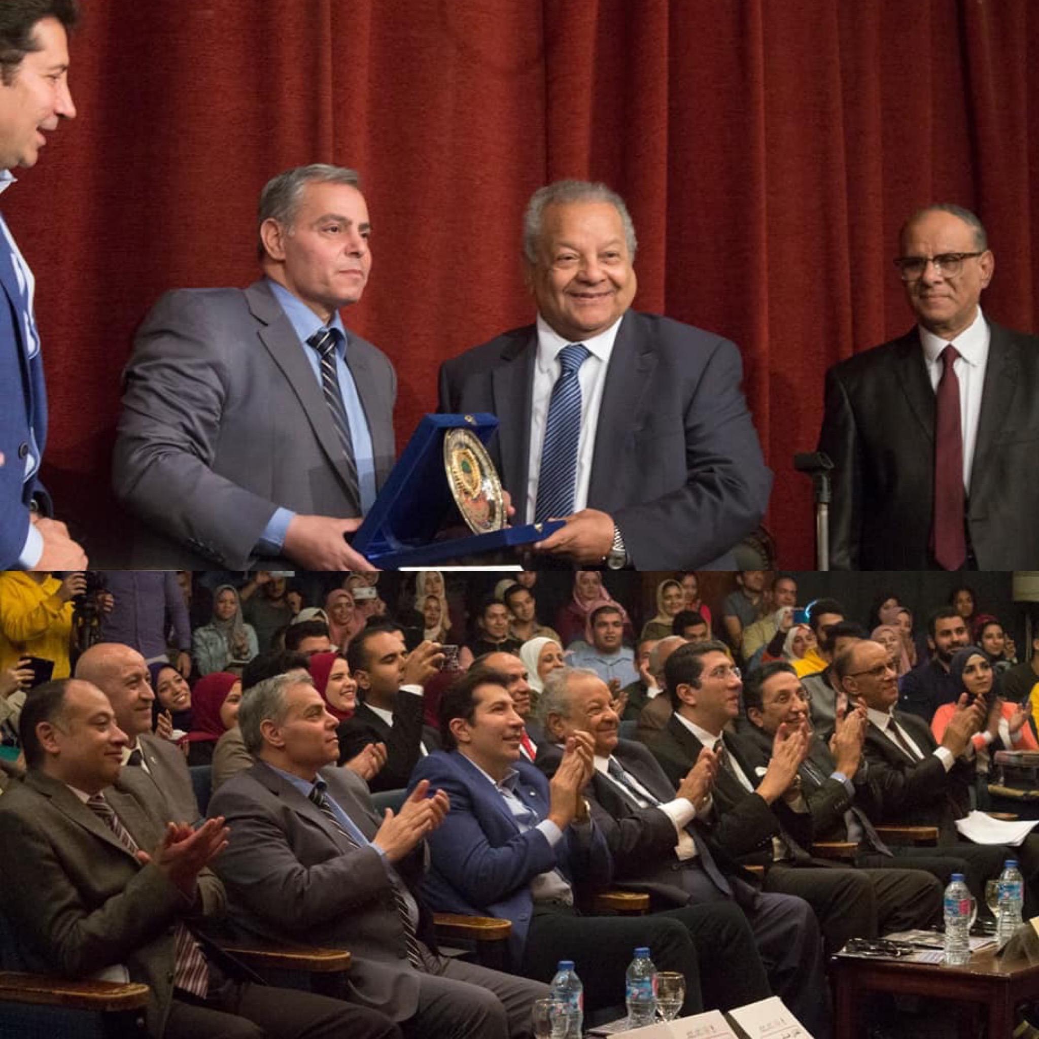 حقوق جامعة القاهرة تكرم الدكتور إبراهيم أبوذكري رئيس المنتجين العرب