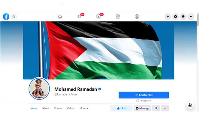 محمد رمضان يضع علم فلسطين على حسابه على الفيسبوك بعد انتقادة جماهيريا.